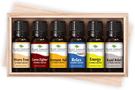 Plant Therapy Top 6 Synergies Set   Essential Oil Blends For Sleep, Stress, Muscle Relief, Energy, Health   In Wood Box