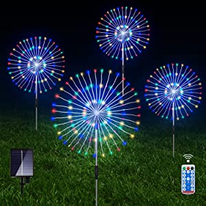 Outdoor Solar Garden Lights, 4 Pack 120 LED Copper Wire Waterproof Solar Garden Fireworks Lamp with Remote, 8 Modes Decorative Sparkles Stake Landscape Light for Garden Pathway Lawn Decor (Colorful)