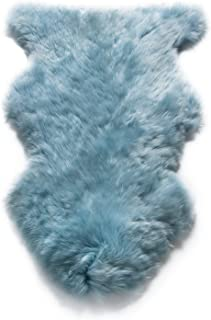 WaySoft Genuine New Zealand Sheepskin Rug, Luxuxry Fur Rug for Bedroom, Fluffy Rug for Living Room (2ft x 3ft, Duck Egg Blue)