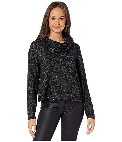 BB Dakota Over Over Cowl Neck Brushed Knit Top (Black) Women