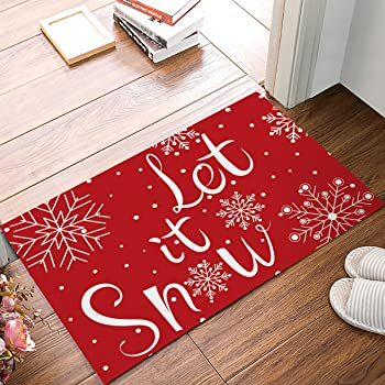 Christmas Decorative Doormat-Let It Snow Winter Snowflake,Non Slip Indoor/Outdoor/Front Door/Bathroom Entrance Mats Rugs Carpet