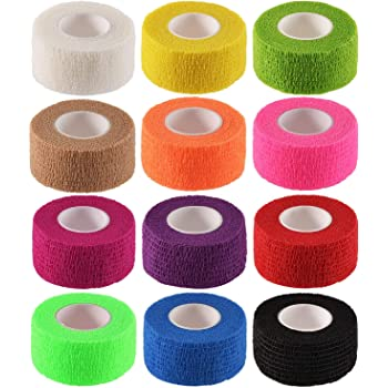 12 Pieces Adhesive Bandage Wrap Stretch Self-Adherent Tape for Sports, Wrist, Ankle, 5 Yards Each (12 Colors, 1 Inch)