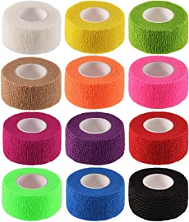 Pangda 12 Pieces Adhesive Bandage Wrap Stretch Self-Adherent Tape for Sports, Wrist, Ankle, 5 Yards Each (1 Inch, 12 Colors)
