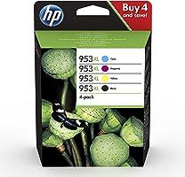 HP 953XL Pack de 4 Cartouches d'Encre Noire, Cyan, Magenta et Jaune grandes capacités Authentiques (3HZ52AE)
