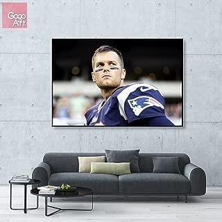 GoGoArt ROLL Canvas print wall art photo big picture poster modern (no framed no stretched not oil painting)Tom Brady sport NFL footballNew England PatriotsQuarterback mvpA-0068-1.5 (24 x 36 inch)