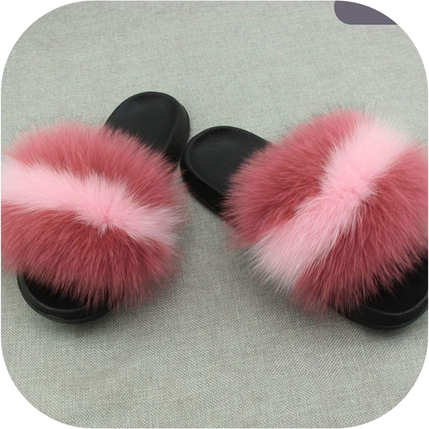 Real Fur Slippers Women Fox Home Fluffy Slides Feathers Furry Summer Flats Raccoon Ladies shoes