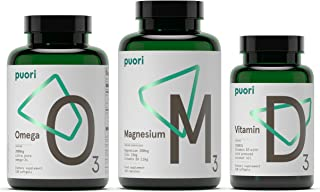 Puori - Health Essentials Bundle Pack- O3 Omega 3 Fish Oil,  M3 Magnesium, and Vitamin D3 (3 Bottles- 120 Capsules Of Each Nutrition Supplement)