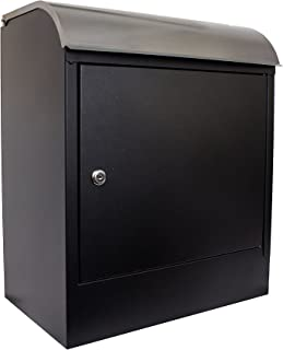 Qualarc WF-PB018 Selma Wall Mount Locking Mail and Parcel Box, Black/Silver