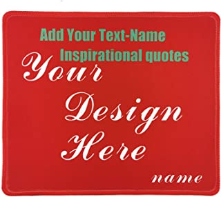 Custom Text Mouse Pad for a Unique Personalized Gift - Add Name, Text, Inspirational Quotes and Make Your own Personalized Mouse Pads with Stitched Edge (red)