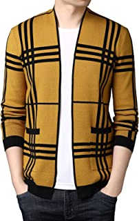 Men Cardigan Warm Open Cable Plaid Knitted Cardigans Long Sleeve Slim Fit Jacket Coat with Pockets