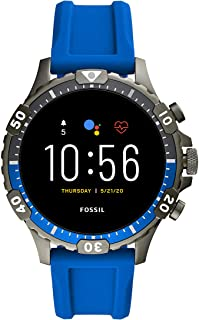 Unisex 46MM Gen 5 Garrett HR Heart Rate Stainless Steel and Silicone Touchscreen Smart Watch, Color: Blue (Model: FTW4042)