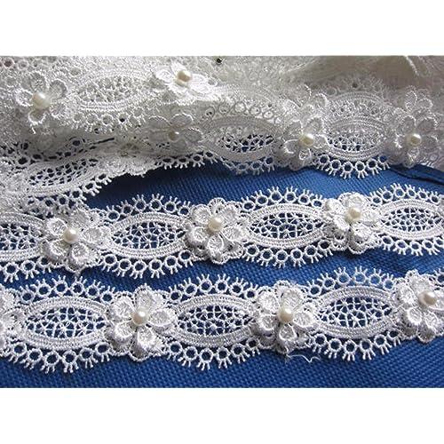 8ca32556ef2 YYCRAFT Pack Of 2y Flower Pearl Lace Edge 1.25