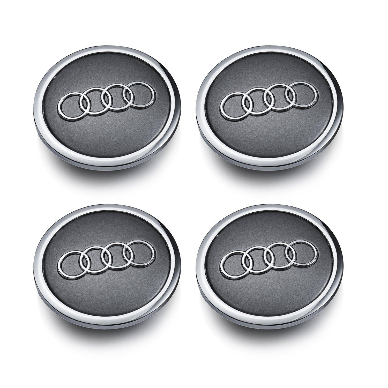 Audi Set de cuatro llantas aluminio centro – Juego de tapacubos gris/cromado Protectora insignia Buje Tapa