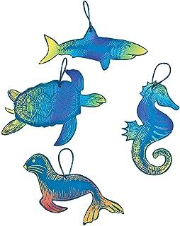 Fun Express - Ocean Animal Magic Scratch Ornaments - Craft Supplies - Magic Scratch - Ornaments - 24 Pieces