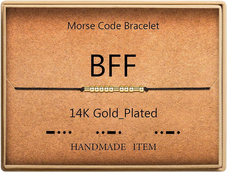 Morse Code Bracelet OFFer 14k Gold Super sale period limited Plated Secret Silk on Me Cord Beads