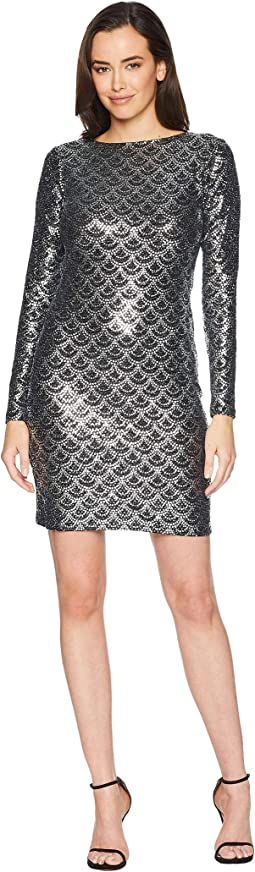Glitter Long Sleeve Cowl Back Dress