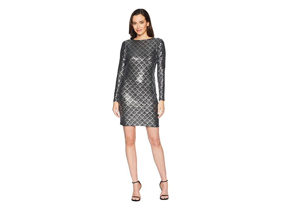 MICHAEL Michael Kors Glitter Long Sleeve Cowl Back Dress (Black/Silver) Women