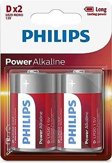 2PK Philips D Alkaline Single Use Battery 1.5V LR20 Long Lasting Batteries