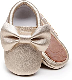 Baby Moccasins with Rubber Sole&Soft Sole - Flower Print PU Leather Tassel Bow Girls Ballet Dress Shoes for Toddler