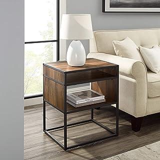 Walker Edison Industrial Modern Metal Frame Wood Rectangle Side Accent Table Set Living Room Storage Shelf End Table, 20 I...