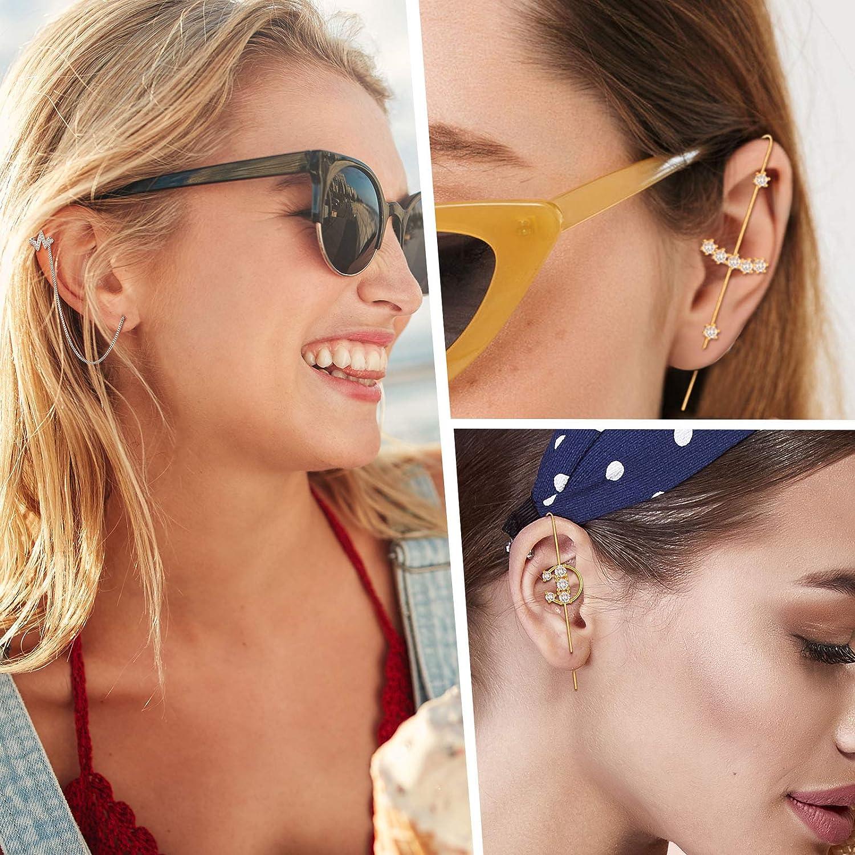12 Pieces Ear Cuff Wrap Crawler Hook Earrings Rhinestone Chain Tassel Earrings Simple Ear Clips for Women Girl Valentine's Day