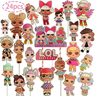 24PCS Surprise Cake Topper Decorative Supplies,22pcs lol cupcake topper 2pcs lol cake toppers lol Party Birthday Party Gifts Great Party Cupcake Decorations