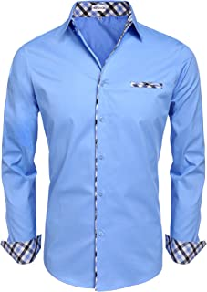 Men's Fashion Button Up Shirt Slim Fit Dress Shirt Contrast Long Sleeve Casual Button Down Shirts