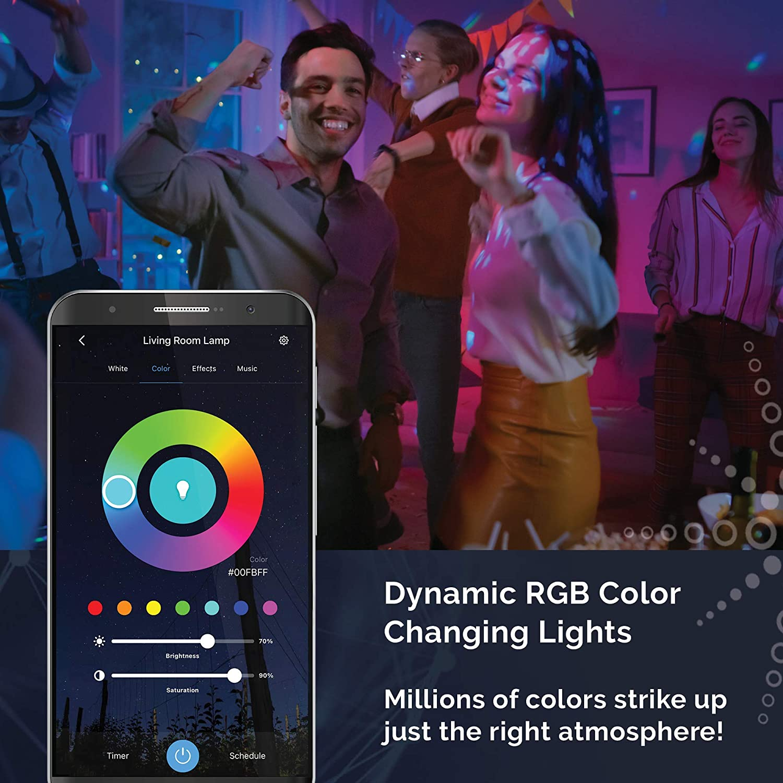 800 Lumens SmartThings Google Assistant 2700K-5000K Works with Siri Satco S11252 Starfish 9.5-Watt A19 WiFi Smart LED Color-Changing Light Bulb Alexa