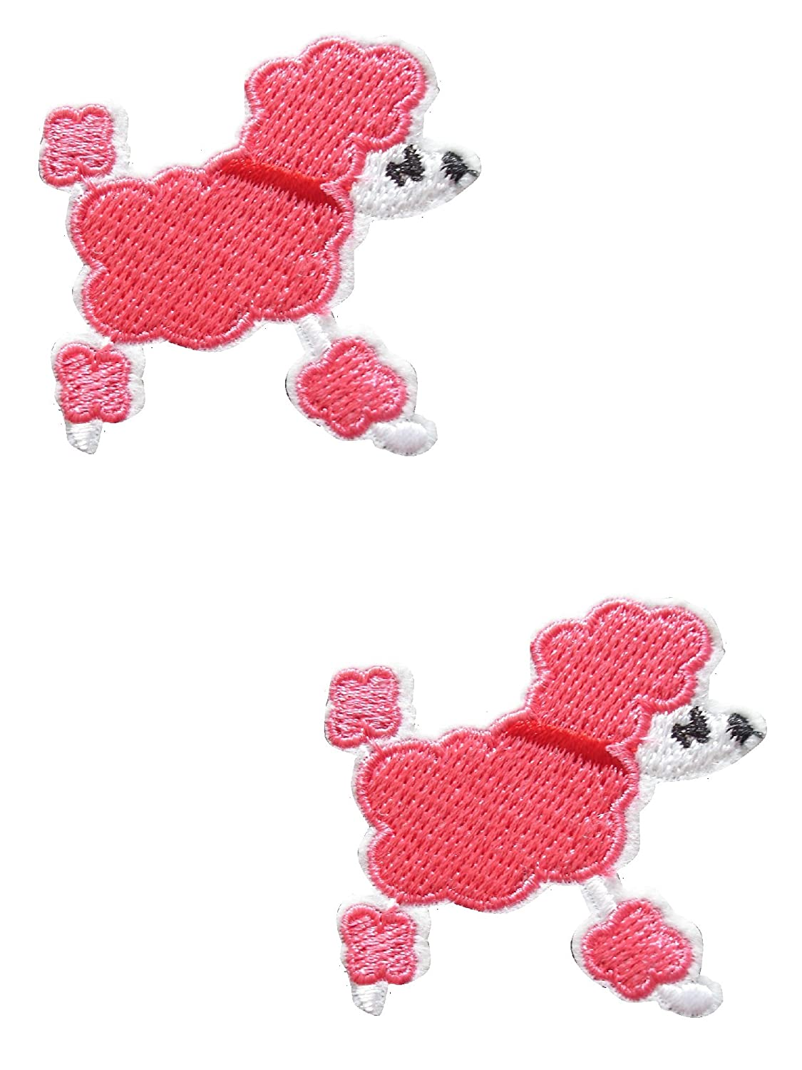 2 pieces POODLE DOG Iron On Patch Applique Motif Fabric Puppy Decal 1.8 x 1.8 inches (4.5 x 4.5 cm)