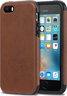 Bisikor iPhone SE Case Leather Texture Design Perfect Protective Case for iPhone SE and iPhone 5S 5 (Brown)