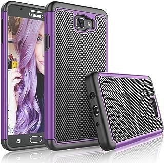 Tekcoo for Galaxy J7 Sky Pro Case/for Galaxy J7 V/J7V/J7 Perx Sturdy Case, [Tmajor] Shock Absorbing [Purple/Black] Rubber Plastic Scratch Resistant Defender Bumper Cover Cases for Samsung J7 2017