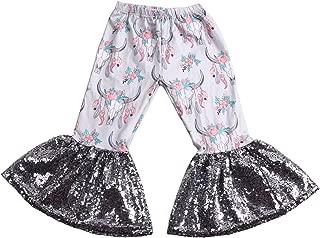 Girls Ruffle Leggings Leopard Print Bell Bottoms Flare Pants