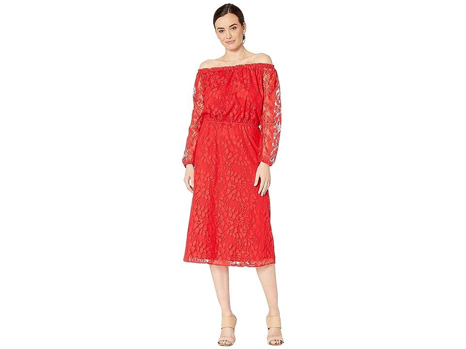 Nine West Vineyard Lace Midi Long Sleeve Peasant Dress (Apple) Women