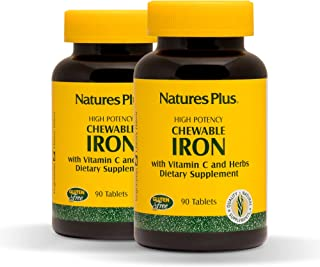 NaturesPlus Chewable Iron (2 Pack) - 27 mg, 90 Chewable Tablets - High Potency Supplement with Vitamin C & Herbs, Promotes...