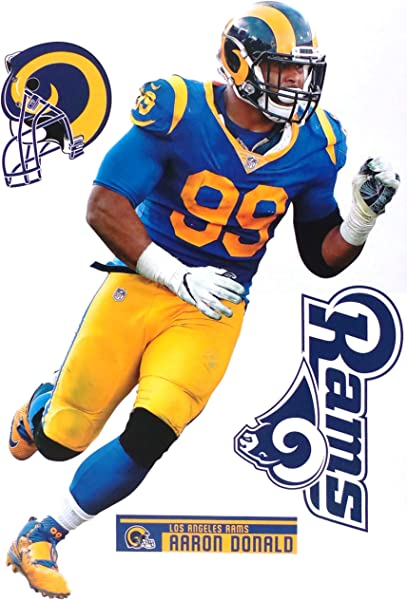 FATHEAD Aaron Donald Los Angeles Rams Logo Set Official NFL Vinyl Wall Graphics 17 INCH
