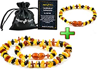 Baltic Amber Teething Necklace for Babies (Unisex) - Anti Flammatory, Drooling & Teething Pain Reduce Properties - Certificated Natural Baltic Amber with the Highest Quality.