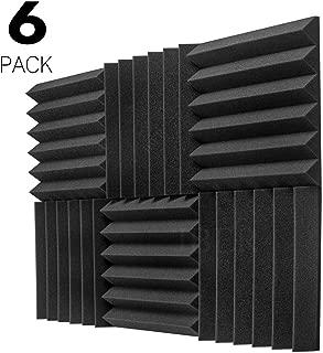 JBER 6 Pack Charcoal Acoustic Panels Studio Foam Wedges Fireproof Soundproof Padding Wall Panels 2