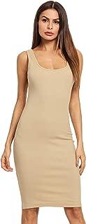Women's Sleeveless Tank Dress Basic Scoop Neck Bodycon Midi Dress
