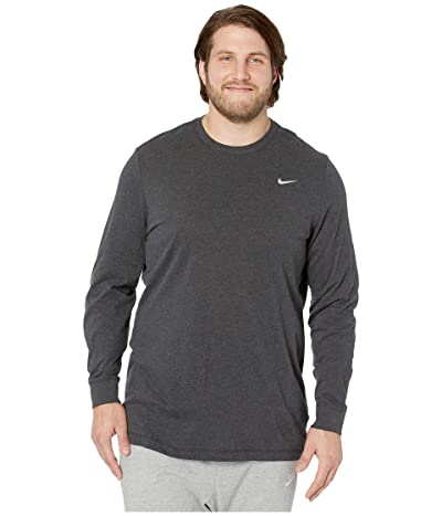 Nike Big Tall Dry Tee Dri-FITtm Cotton Long Sleeve Solid (Black Heather/Matte Silver) Men