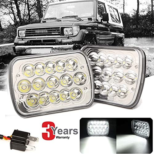 Newest 7x6 inch LED Headlight Rectangular Bright Light High Low Sealed Beam DRL for Toyota Pickup 1982-95 Tacoma 95-97 Truck H6014 H6052 H6054 6054 Super Bright Replacement Fast Installation, 3 Years