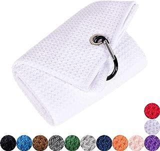 Mile High Life Tri-fold Golf Towel | Premium Microfiber Fabric | Waffle Pattern | Heavy Duty Carabiner Clip | 14 Color Options