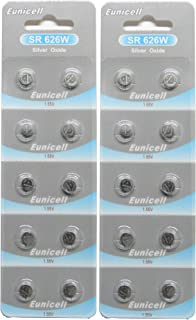 20 Eunicell SR626SW SR626W 377 Silver Oxide Button Cell 1.55V Battery Long Shelf Life 0% Mercury (Expire Date Marked)