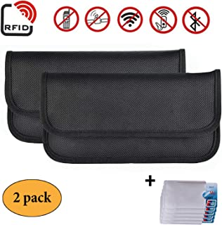 Newseego 2 Pack RFID Signal Blocking Bag | 5X Mangas de Tarjeta de crédito RFID Gratis | Anti Theft Faraday Bag for Car Key Fob & Cell Phone Blocking Pocket, RFID Signal Shielding Pouch(2 Pack Black)