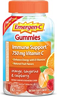 Emergen-C 750mg Vitamin C Gummies for Adults, Immune Support Gummies with B Vitamins, Gluten Free, Orange, Tangerine and R...