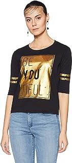 Unshackled Ladies Gold Print Tee US 415 Women's Plain Regular Fit T-Shirt