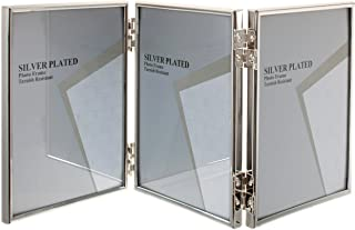 Viceni Silver Plated Thin Edge Hinged Triple Photo Frame, 8 by 10