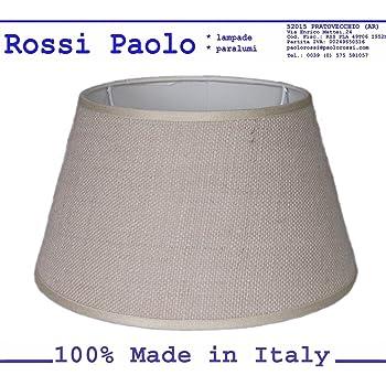 Paralume coprilampada classico per lampada in tessuto tipo Juta con rifinitura produzione propria made in Italy (Impero, cm 30)