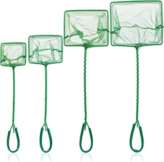 Tugaizi 4 Sizes Aquarium Fish Net Fine Nylon Fishing Nets with Plastic Handle