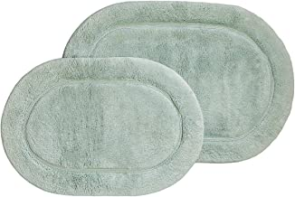 Superior 2-Piece Cotton Oval Non -Skid Bath Rug Set, Sage