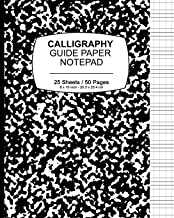 Calligraphy Guide Paper Notepad: School Marble Black, Calligraphy Guide Book  For Lettering and Design Drawing Practice